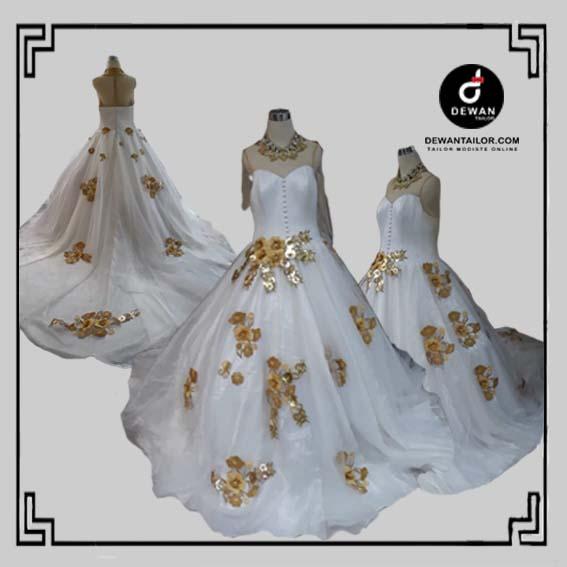 gaun border kembang